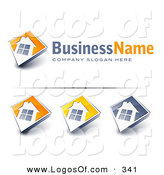 March 4th, 2013: Logo Vector of a Pre-Made Logo of a Large Window on a Home with Space for a Business Name and Company Slogan over White by Beboy