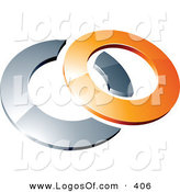 Logo Vector of a Pre-Made Logo of a Orange Shiny 3d Ring Interlocking with a Chrome Circle, Above Space for a Business Name and Company Slogan by Beboy