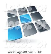 Logo Vector of a Pre-Made Logo of a Pair of Blue Tiles Standing out from Rows of Silver Tiles by Beboy