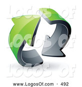 Logo Vector of a Pre-Made Logo of a Pair of Circling Green Arrows by Beboy
