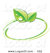 Logo Vector of a Pre-Made Logo of a Pair of Green Dew Covered Leaves and a Circle Around a Space for a Business Name and Company Slogan by Beboy