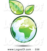 Logo Vector of a Pre-Made Logo of a Pair of Leaves Sprouting on Top of a Globe, to the Left of a Space for a Business Name and Company Slogan by Beboy