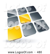 Logo Vector of a Pre-Made Logo of a Pair of Yellow Tiles Standing out from Rows of Silver Tiles by Beboy