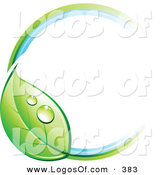 Logo Vector of a Pre-Made Logo of a Ring with a Dewy Green Leaf, with Space for a Business Name and Company Slogan to the Right on White by Beboy