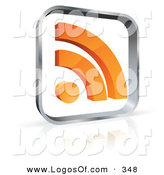 Logo Vector of a Pre-Made Logo of a See Through Glass Cube with an Orange RSS Symbol to the Left of Space for a Business Name and Company Slogan by Beboy