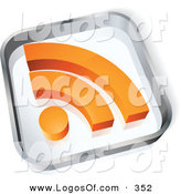 Logo Vector of a Pre-Made Logo of a See-Through Glass Square with an Orange RSS Symbol over Space for a Business Name and Company Slogan by Beboy