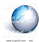 Logo Vector of a Pre-Made Logo of a Silver Orb with Blue Line Above Space for a Business Name and Slogan, on a White Background by Beboy