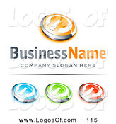 Logo Vector of a Pre-Made Logo of a Single Orange and Chrome Power Button, Blue Green and Red Buttons Also Included, with Space for a Business Name and Company Slogan Below by Beboy