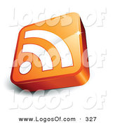Logo Vector of a Pre-Made Logo of a Single Orange and White RSS Cube over a Space for a Business Name and Company Slogan by Beboy