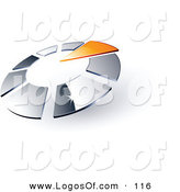 Logo Vector of a Pre-Made Logo of a Single Orange Arrow Pointing Inwards in a Circle of Chrome Squares, with Space for a Business Name and Company Slogan Below on White by Beboy
