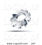 Logo Vector of a Pre-Made Logo of a Single Shiny Silver Cog Above Space for a Business Name and Company Slogan by Beboy