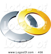 Logo Vector of a Pre-Made Logo of a Yellow Shiny 3d Ring Completing a Chrome Circle, Above Space for a Business Name and Company Slogan by Beboy