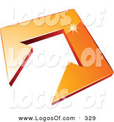 February 17th, 2013: Logo Vector of a Pre-Made Logo of an Arrow in an Orange Tile in the Center of a Space for a Business Name and Company Slogan over White by Beboy