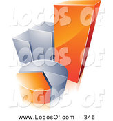 Logo Vector of a Pre-Made Logo of an Orange and Chrome Pie Chart and Bar Graph with Space for a Business Name and Company Slogan over White by Beboy