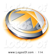 Logo Vector of a Pre-Made Logo of an Orange Arrow on a Chrome Button by Beboy
