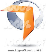 Logo Vector of a Pre-Made Logo of an Orange Boomerang or Arrow over a Chrome Circle, Above Space for a Business Name and Company Slogan over White by Beboy