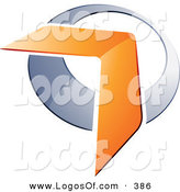 Logo Vector of a Pre-Made Logo of an Orange Boomerang or Arrow over a Pretty Chrome Circle, to the Left of Space for a Business Name and Company Slogan by Beboy