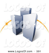 Logo Vector of a Pre-Made Logo of an Orange Dash Behind Three Tall City Skyscrapers Above Space for a Business Name and Company Slogan over White by Beboy