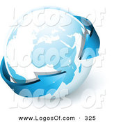 Logo Vector of a Pre-Made Logo of Blue Arrows Wrapping Around Planet Earth to the Left of a Space for a Business Name and Company Slogan by Beboy