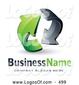 Logo Vector of a Pre-Made Logo of Gray and Green Circling Arrows on White by Beboy