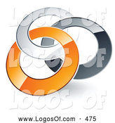 Logo Vector of a Pre-Made Logo of Linked Silver, Gray and Orange Rings Entwined by Beboy