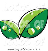 June 7th, 2013: Logo Vector of a Pre-Made Logo of Lush Eco Friendly Green Leaves with Dew, with Space for a Business Name and Company Slogan Below by Beboy