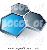 Logo Vector of a Pre-Made Logo of One Blue Honeycomb Connected to Two Gray Others, Above Space for a Business Name and Company Slogan by Beboy