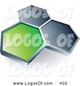 Logo Vector of a Pre-Made Logo of One Green Honeycomb Connected to Two Others, Above Space for a Business Name and Company Slogan on White by Beboy
