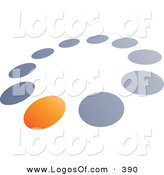 Logo Vector of a Pre-Made Logo of One Orange Dot in a Circle of Blue and Gray Dots, Above Space for a Business Name and Company Slogan on White by Beboy