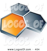 Logo Vector of a Pre-Made Logo of One Orange Honeycomb Connected to Two Gray Others, Above Space for a Business Name and Company Slogan by Beboy