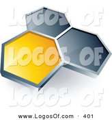 Logo Vector of a Pre-Made Logo of One Yellow Honeycomb Connected to Two Gray Others, Above Space for a Business Name and Company Slogan by Beboy