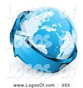 March 18th, 2013: Logo Vector of a Pre-Made Logo of Planet Earth Being Wrapped by a Blue Arrow Above a Space for a Business Name and Company Slogan by Beboy