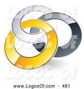 Logo Vector of a Pre-Made Logo of Silver, Gray and Yellow Rings Entwined on White by Beboy