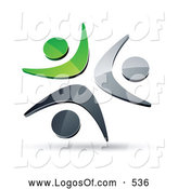 Logo Vector of a Pre-Made Logo of Three Green, Chrome and Black People Together Celebrating or Dancing by Beboy