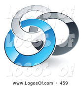 Logo Vector of a Pre-Made Logo of Three Silver, Gray and Blue Rings Entwined by Beboy
