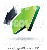 Logo Vector of a Pre-Made Logo of Two Green and Gray Arrows Going in Opposite Directions by Beboy