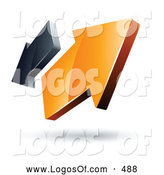 Logo Vector of a Pre-Made Logo of Two Orange and Gray Arrows Going in Opposite Directions by Beboy