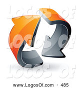 Logo Vector of a Pre-Made Logo of Two Rotating Circling Orange Arrows by Beboy