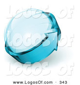 March 6th, 2013: Logo Vector of a Pre-Made See Through Logo of Blue Arrow Circling a Glass Sphere, with Space for a Business Name and Company Slogan by Beboy