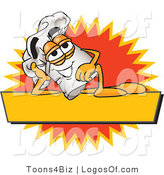 August 17th, 2012: Logo Vector of a Reclining Chefs Hat Mascot Cartoon Character Resting over a Blank Yellow Label by Toons4Biz