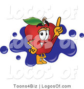 Logo Vector of a Red Apple and Blue Ink Splat by Toons4Biz