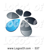 Logo Vector of a Reflective Circle of Chrome and Blue Droplets Forming a Windmill by Beboy