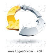 Logo Vector of a Ring of One Yellow Arrow and Two Chrome Arrow by Beboy