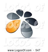 Logo Vector of a Ring or Circle of Chrome and Orange Droplets Forming a Windmill by Beboy