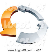 Logo Vector of a Rotating 3d Circle of One Orange Arrow and Two Chrome Arrow, Forming a Recycle Icon by Beboy