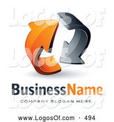 Logo Vector of a Rotating Pre-Made Logo of Gray and Orange Circling Arrows by Beboy