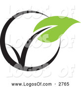 Logo Vector of a Seedling Plant in a Circle by Elena