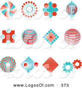 Logo Vector of a Set of Many Red and Blue Spiral, Diamond, Globe and Gear Logo Icons over Reflective Surfaces by KJ Pargeter