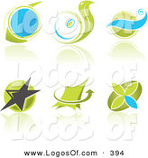 May 19th, 2013: Logo Vector of a Set of Six Blue and Green Stylish Business Logos with Circles, Waves, Stars and Arrows and Reflections. by Paulo Resende