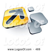 Logo Vector of a Shiny Arrow on a Yellow Box near Orange Squares by Beboy